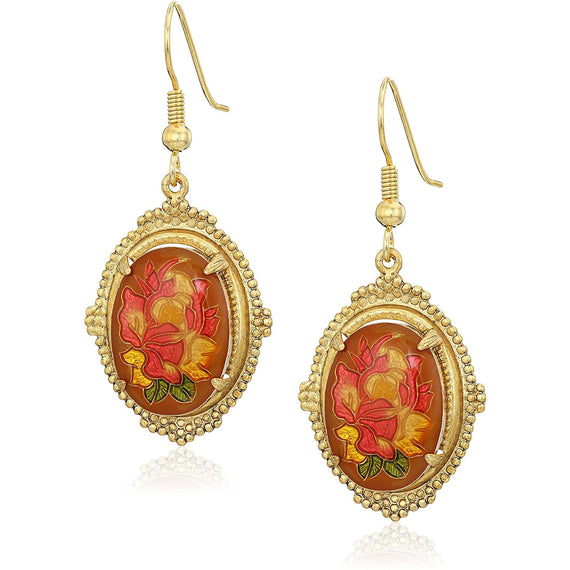 Fashion Jewelry - Gold Tone Floral Oval Drop Earrings