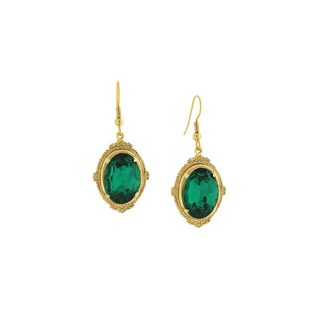 Gold-Tone Faceted Green Oval Drop Earrings