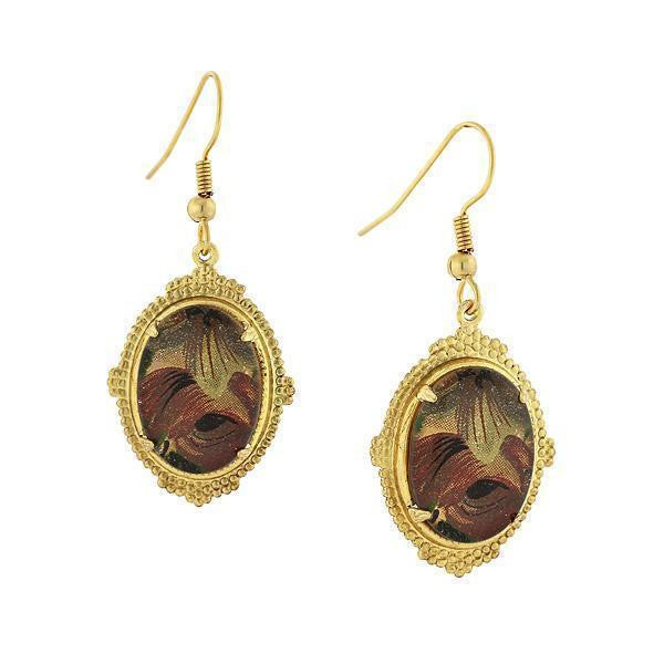 Gold Tone Brown Floral Oval Drop Earrings
