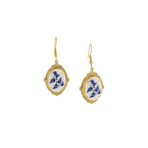 Gold-Tone White with Blue Bird Designed Oval Drop Earrings