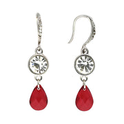 Crystal And Red Pear Shape Earrings