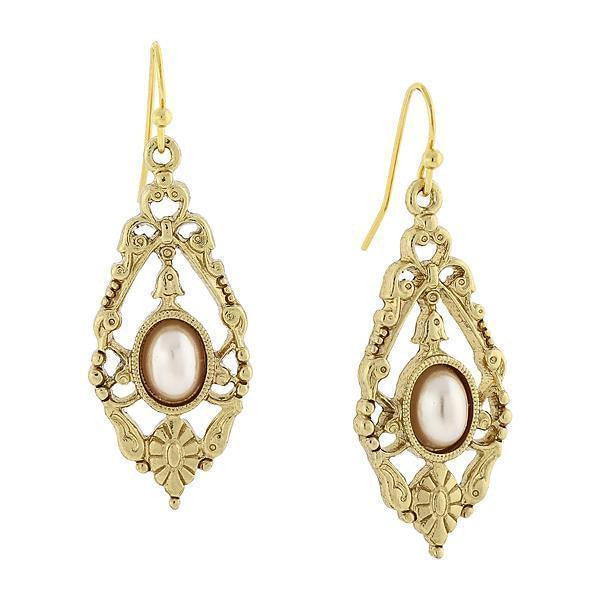 Gold-Tone Costume Pearl Drop Earrings
