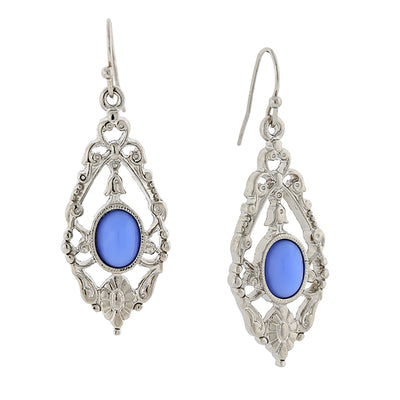Silver Tone Blue Drop Earrings