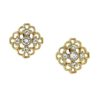 Gold Tone Crystal Accent Filigree Button Stud Earrings