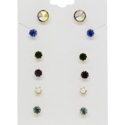 Multi Color Swarovski Crystal Set Earrings   6 Pairs