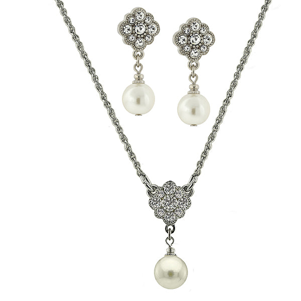Silver-Tone Costume Pearl And Crystal Earrings And Necklace Set