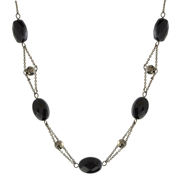 Black Trapeze Beaded Necklace