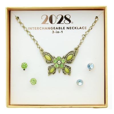 3 Piece Box Blue Green Ear Butterfly Neck Set