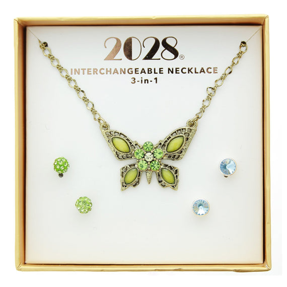 3 Piece 2028 Box Blue Green Ear Butterfly Neck Set