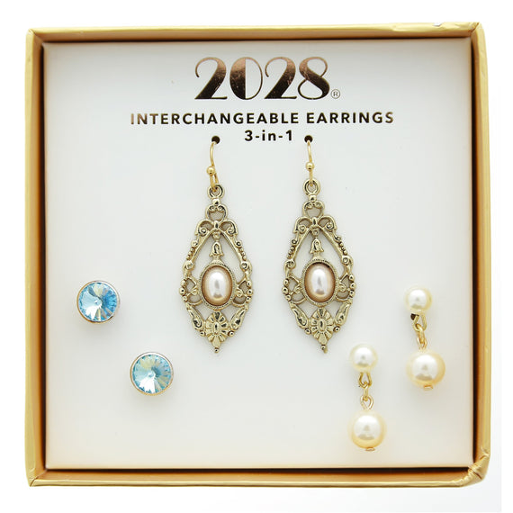 3 Piece 2028 Box Pearl Aqua Earring Set