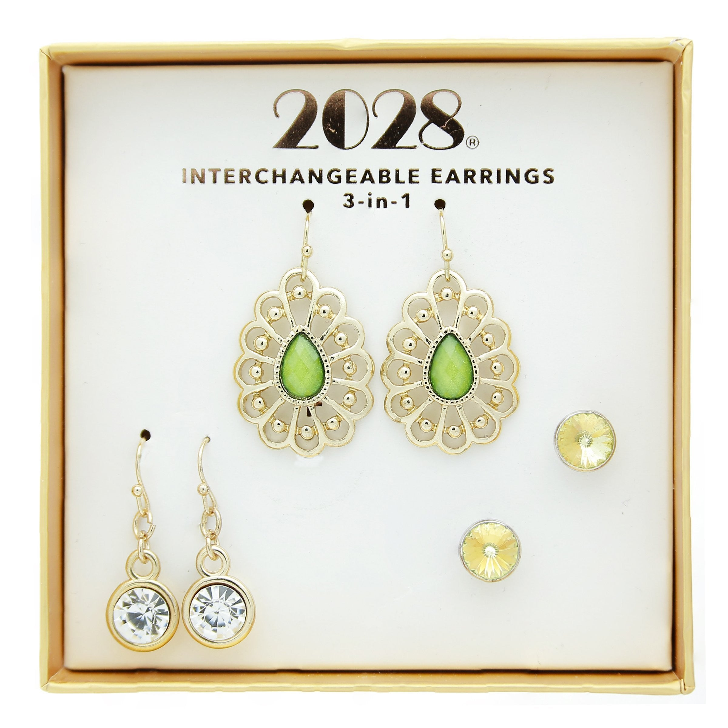 2028 3 Piece Box Green/Crystal Earring Set