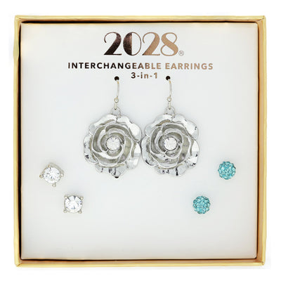 3 Piece Crystal / Aqua Stud Flower Drop Earring Set