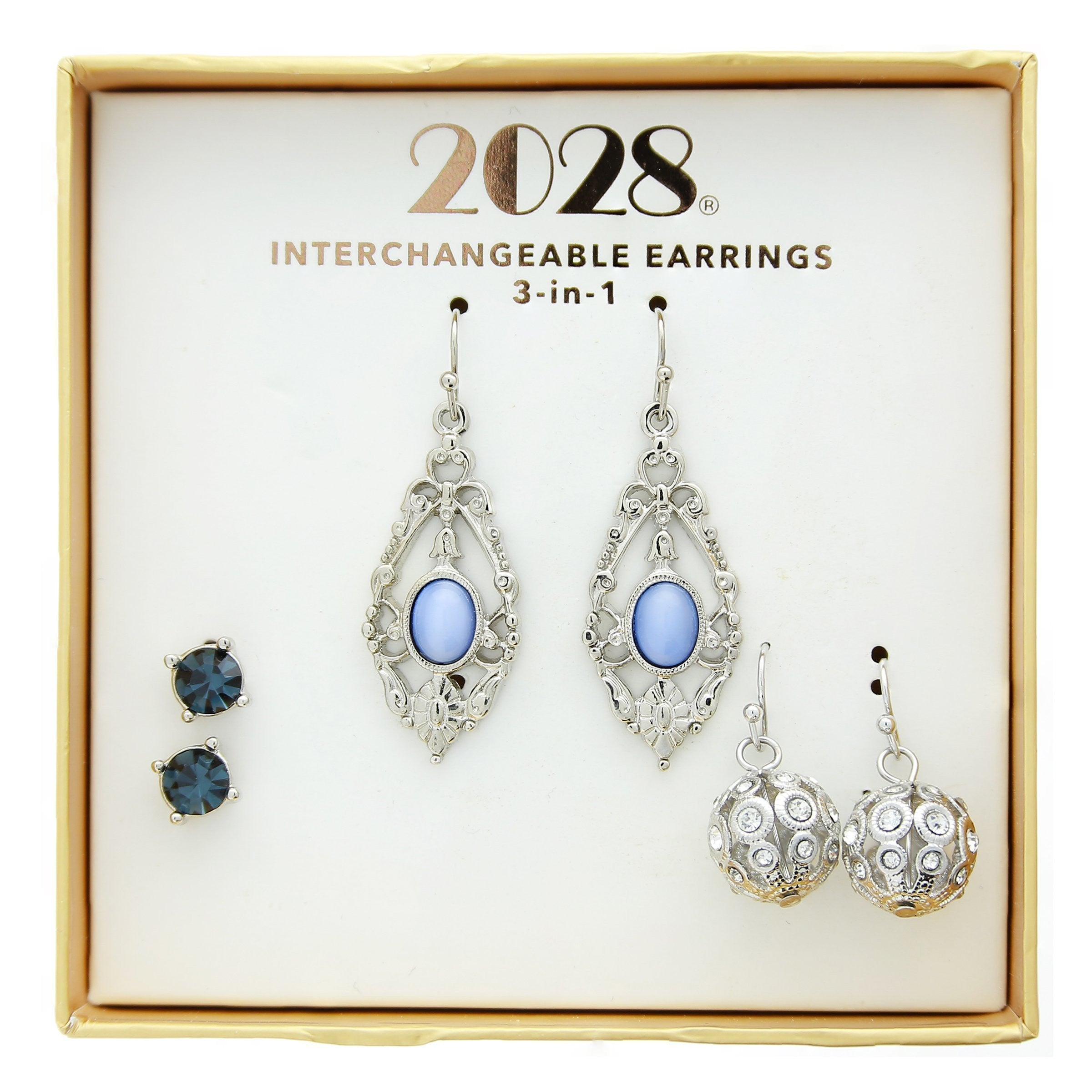 2028 3 Piece Box Silver Tone Crystal Blue Earring Set