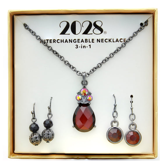 3 Piece 2028 Box Red/Black Earring Necklace Set