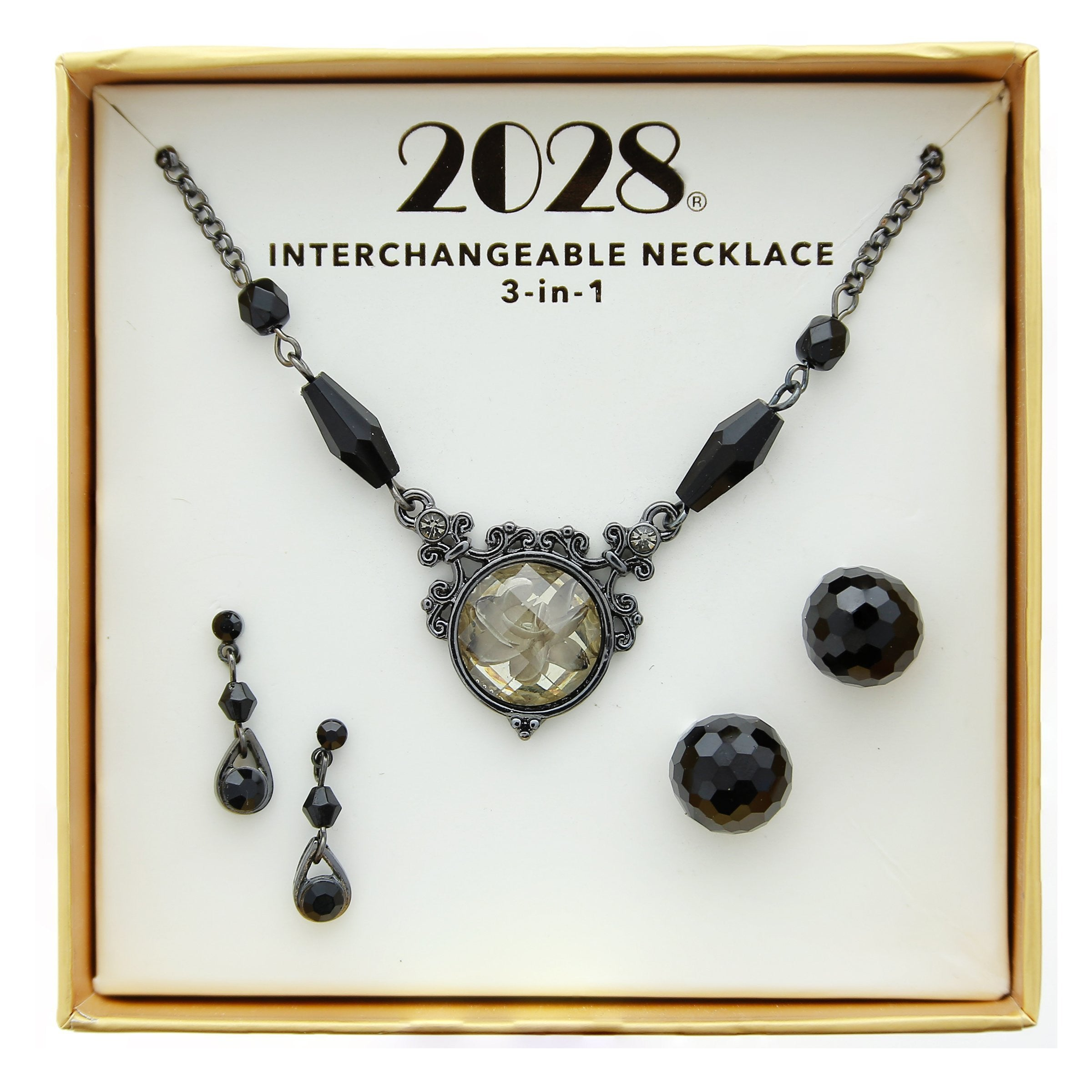 2028 3 Piece Box Black Earring and Necklace Set