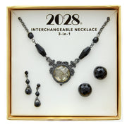 3 Piece Box Black Earring And Necklace Set