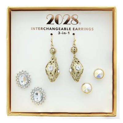 3 Piece Box Silver Tone & Gold Tone Earring Set