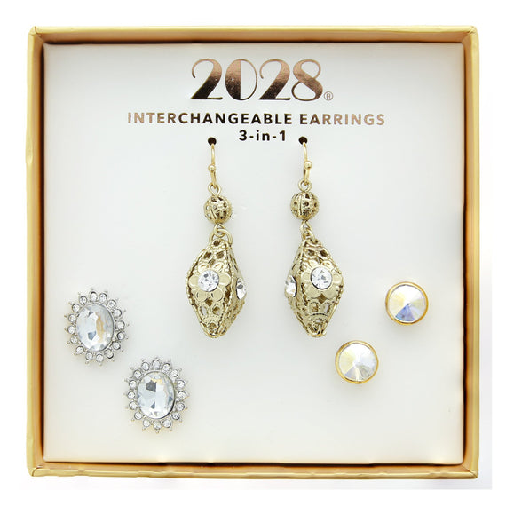 3 Piece 2028 Box Silver Tone & Gold Tone Earring Set
