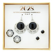 3 Piece Box Silver Tone Black Earring Set
