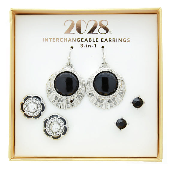 3 Piece 2028 Box Silver Tone Black Earring Set