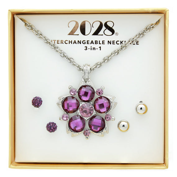 3 Piece 2028 Box set Purple Amy Stud Earrings and Necklace