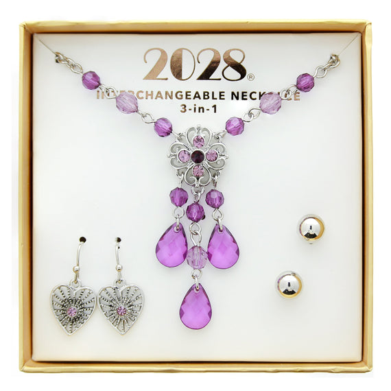 3 Piece 2028 Box Amy Heart Stud Necklace Set