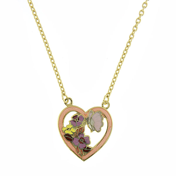 Brass Tone Floral Enamel Heart Pendant Necklace 15 Inch Adjustable