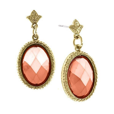 Gold-Tone Coral Oval Faceted Drop Earrings