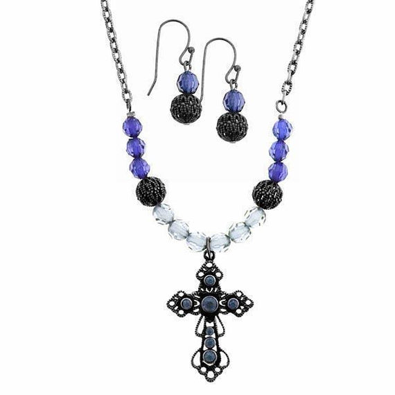 Black-Tone Blue Beaded Cross Neck 16 Adj. and Earrings Set