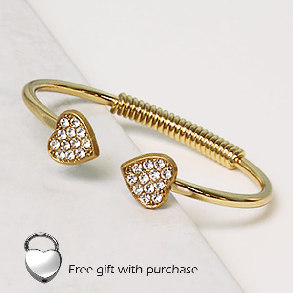 14K Gold-Dipped Pave Crystal Heart Coil Bracelet with FREE Heart Key Fob
