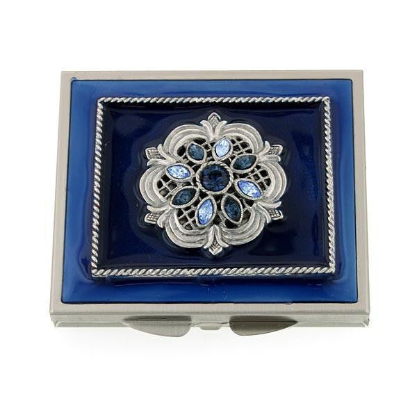 Silver Tone Blue Enamel Blue Crystal Square Mirror Compact