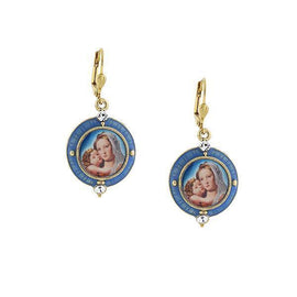 14K Gold-Dipped and Blue Enamel Earrings with Mary and Child Decal Image
