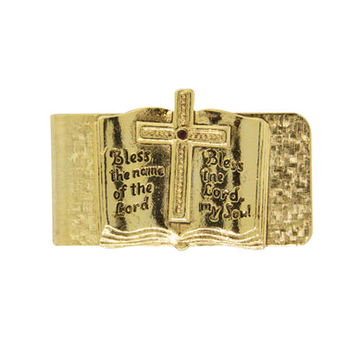 Gold Tone Open Bible  Bless The Lord  Money Clip
