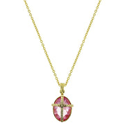 14K Gold Dipped Light Pink Oval Stone Cross Necklace 16   19 Inch Adjustable