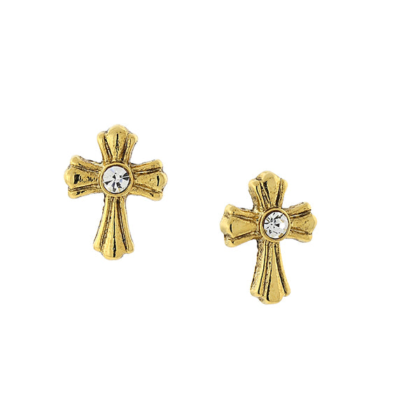 Symbols of Faith 14K Gold Dipped Crystal Cross Stud Earrings