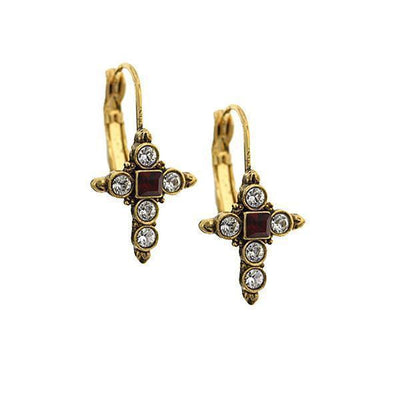 14K Gold-Dipped Crystal Dark Red Cross Earrings