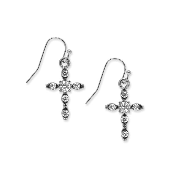 Silver-Tone Crystal Cross Drop Earrings
