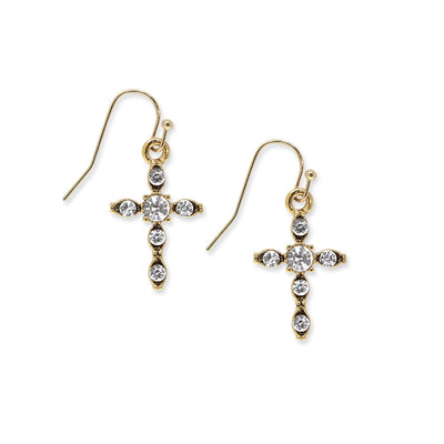 14K Gold-Dipped Crystal Cross Drop Earrings