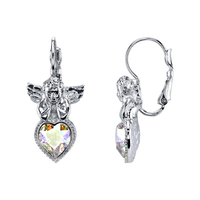 Silver-Tone Crystal Ab Heart Angel Earrings