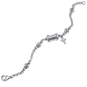 Silver-Tone  Mary Pray For Us  Cross Bracelet