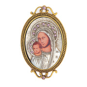 14K Gold Dipped And Silver Tone Purple Crystal Enamel Iconica Mary Brooch