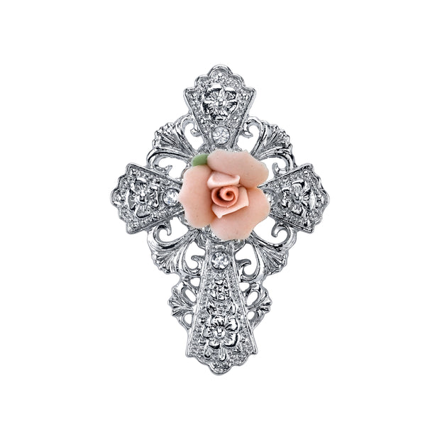 Silver-Tone Pink Porcelain Rose Cross Pin