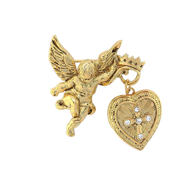 14K Gold Dipped Crystal Glory Of The Cross Fob Locket Brooch