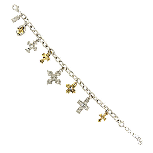 14K Gold-Dipped And Silver-Tone Seven Cross Charm Bracelet