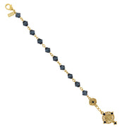 14K Gold-Dipped Blue Bead  Windows To Heaven  Rosary Crucifix Bracelet
