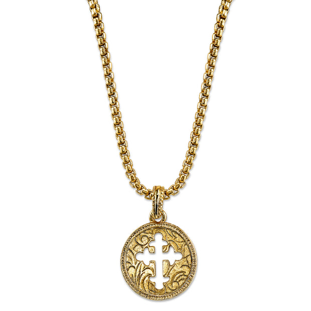 14K Gold-Dipped Coin Cross Necklace 20 Inch