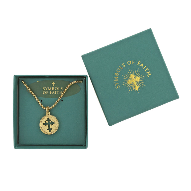 Boxed Symbols Of Faith 14K Gold-Dipped Coin Cross Necklace 20 Inch