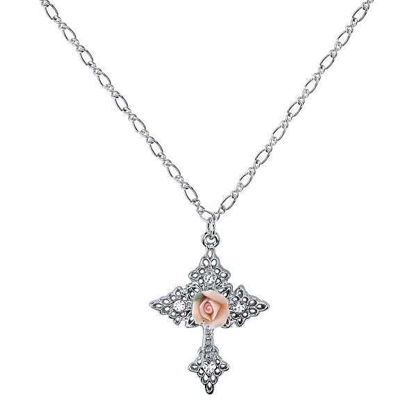 Cross necklaces for women 1928 vintage inspired fashion jewelry symbols of faith silver tone swarovski crystal pink porcelain rose cross pendant necklace aloadofball Choice Image