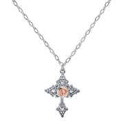 Silver-Tone Crystal Porcelain Rose Cross Pendant Necklace 18 In