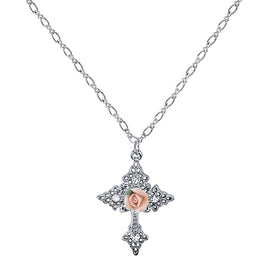 Gold Tone Crystal and Porcelain Rose Cross Filigree Necklace 18in Adj